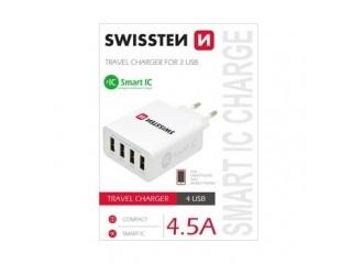 SWISSTEN SÍŤOVÝ ADAPTÉR SMART IC 4x USB 4,5A POWER BÍLÝ
